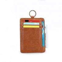 GUBINTU 美国直邮 男士RFID电子防盗钱包真皮超便携卡包 咖啡色