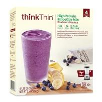 ThinkThin 高蛋白奶昔混合配料 4包装 156g/盒 蓝莓香蕉味