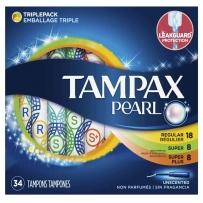 Tampax丹碧丝珍珠卫生棉条导管式内置月经棉棒卫生巾 珍珠系列34支(中量18支+大量8支+加大量8支)