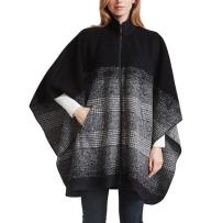 女装BERNARDO羊毛披肩毛呢外套斗篷时尚百搭 黑色