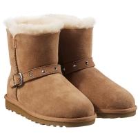 儿童纯羊皮羊毛短靴雪地靴 Kirkland科克兰 Costco 驼色