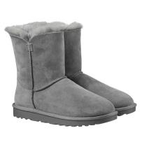 成人纯羊皮羊毛短靴雪地靴 Kirkland科克兰 Costco 灰色