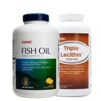 GNC健安喜深海鱼油360粒+三重大豆卵磷脂180粒调节三高实惠家庭装