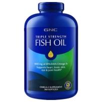 GNC 深海鱼油 三倍鱼油软胶囊OMEGA-3欧米伽3中老年调节三高美国原装进口 360粒/DHA+EPA=1000mg