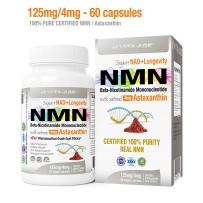 NMN β-烟酰胺单核苷酸125mg+虾青素胶囊4mg 60粒(NAD +抗氧化剂)激活抗衰老DNA修复能量