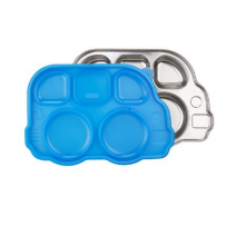 Innobaby 可爱巴士儿童不锈钢分食餐盘  蓝色
