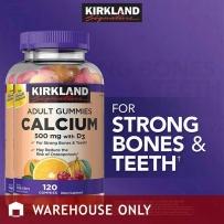 Kirkland 柯克兰成人软糖钙500mg+维生素D3 补钙糖120粒