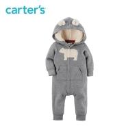 Carter's1件式宝宝秋装连体衣男小熊摇粒绒连帽外套童装118H621
