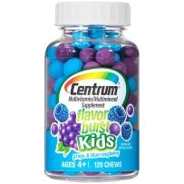 美国原装善存Centrum儿童咀嚼果糖 趣味维生素 混合水果味120粒葡萄蓝莓味