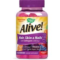 美国 Nature's Way  Alive 生物素胶原蛋白头发皮肤指甲多种维生素 60粒软糖