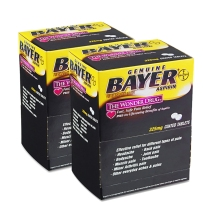 Bayer拜耳Aspirin阿司匹林肠溶片高剂量型325mg 简易装 50袋*2盒 疼痛牙疼晚期备用