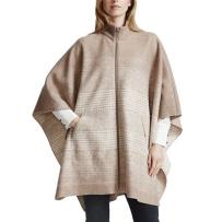 女装BERNARDO羊毛披肩毛呢外套斗篷时尚百搭 驼色
