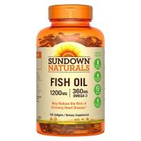 Sundown Naturals日落恩赐 深海鱼油软胶囊 1200 mg 100粒 降三高血液粘稠度 改善记忆