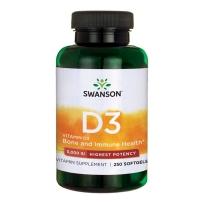 Swanson斯旺森 高含量天然维生素D3 5000IU胆钙化醇125 mcg *250粒软凝胶