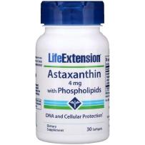 美国Life Extension天然雨生红球藻精华虾青素含磷脂胶囊 30粒 抗氧化易吸收防衰老抗皱