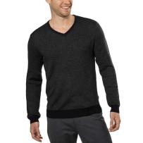 Calvin Klein男士羊毛混纺V领毛衣,黑色