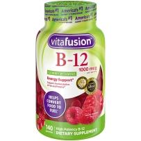 美国 Vitafusion 成人维生素B12软糖树莓味 140粒 膳食补充剂 预防贫血促进红细胞增长