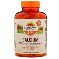 Sundown Naturals日落恩赐 钙1200mg+维生素D1000 IU 孕妇补钙 170粒软胶囊