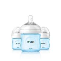 Philips飞利浦 AVENT新安怡 自然实感宽口PP奶瓶 蓝色 125ml  3只装