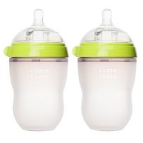 Comotomo可么多么 全硅胶宽口防胀气奶瓶 250ml 绿色 两只装
