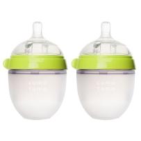 Comotomo可么多么  全硅胶宽口防胀气奶瓶 150ml 绿色 两只装