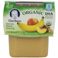 Gerber 嘉宝 2段 DHA有机香蕉蜜桃燕麦泥  2套装 (99g×4)