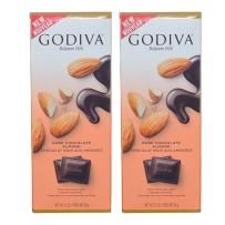 GODIVA 歌蒂梵 72% 杏仁黑巧克力直板排块 90g *2块装