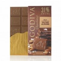GODIVA  歌蒂梵 31% 咸焦糖杏仁牛奶巧克力直板排块 100g