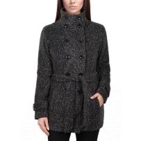 美国直邮IKE BEHER英格兰格子女士大衣外套双排扣系腰收腹修身款 雪花黑