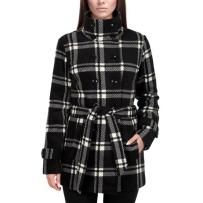 美国直邮IKE BEHER英格兰格子女士大衣外套双排扣系腰收腹修身款 黑白格子