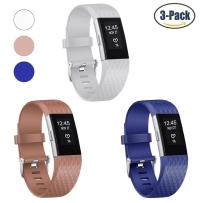 Fitbit Charge 2 硅胶表带菱形纹charge2心率健身智能手环新款手表带3个(无表盘)