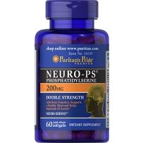 Puritan's Pride磷脂酰丝氨酸Neuro-PS脑灵素补脑 增强记忆 老年痴呆200mg60粒