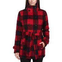 美国直邮IKE BEHER英格兰格子女士大衣外套双排扣系腰收腹修身款 红色格子