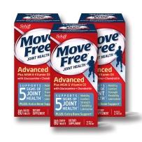 美国schiff Move Free蓝瓶 氨糖软骨素维骨力 添加有机硫和维生素D3 蓝盒 80片 3瓶装