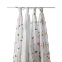 aden + anais 多功能婴儿大包巾 muslin纯纱棉 4条装 Butterfly Patch款