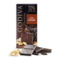 GODIVA歌帝梵72%杏仁黑巧克力直板排块经典100g限量加大款