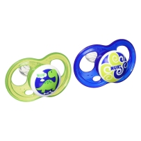 NUK婴幼儿硅胶乳胶安抚奶嘴两只装0-18个月 男孩正畸奶嘴无限盾设计8倍气流