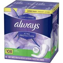 Always Xtra Protection 强效保护加长无香护垫 108片