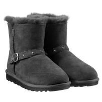 儿童纯羊皮羊毛短靴雪地靴 Kirkland科克兰 Costco  黑色