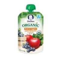 嘉宝 2段 有机蔬果泥  吸吸乐 苹果蓝莓菠菜  2盒装(99g*2)