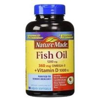 Nature Made  深海鱼油1200mg +Omega-3 360mg +VD1000 IU 软胶囊 90粒