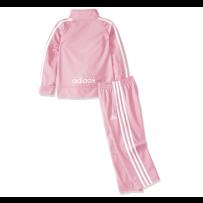 阿迪达斯女童运动粉色套装