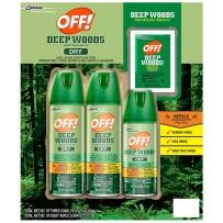 OFF! Deep Woods Dry防蚊喷雾驱虫水驱蚊喷雾3瓶套装