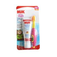 NUK 幼儿无氟可吞咽牙膏牙刷套装 天然混合浆果口味(12个月以上)粉色款