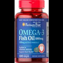 Puritan's Pride 普丽普莱 OMEGA-3 深海鱼油软胶囊 1000mg 100粒 保护心血管