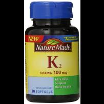 Nature Made 维生素K2 软胶囊 100mcg 30粒 增加骨密度预防骨折